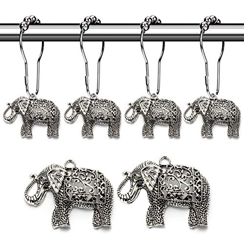 Rust Proof Shower Curtain Hooks - Brushed Nickel Rings with Elephant Decorative Accessories Set Design for Bathroom Curtain, Kids Room, Home, condo Decor (Antique Silver, Stainless Steel, Set of 12) (Alabama Bathroom Set)