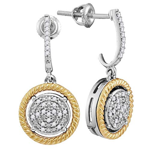 Jewels By Lux 10kt Two-tone Gold Womens Round Diamond Rope Circle Dangle Earrings 1/8 Cttw In Prong Setting (I2-I3 clarity; J-K color)