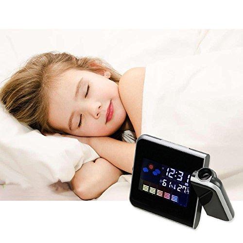 Sealive Multi-function Digital Weather Projection Wake-up Alarm Clock, LED Backlight, Temperature & Humidity & Calendar Display(black)