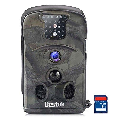 Bestok Cámara de Caza 12MP HD Cámara de Vigilancia Ángulo Ancho de 120 ° Impermeable Invisible Visión Nocturna Hasta 20M IR LEDs Trail Cámara (8210A-8GB): ...