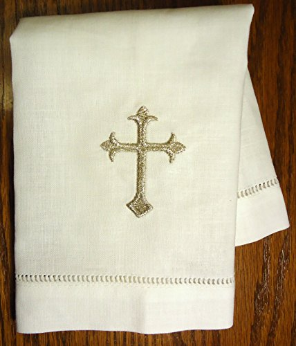 nen Baptism/Christening Cloth, White with Silver Cross Embroidery Design, 100% Fine Linen Fabric, 12 x 12 Inch Size, Quantity of 1 per package, Hemstitched Hem, Heirloom Baby Keepsake Gift (Heirloom Silver Wash)