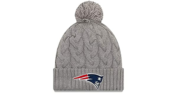 Amazon.com   All Sports New England Patriots New Era Women s Swift Cable  Cuffed Knit Hat with Pom - Gray   Sports   Outdoors 9f19b3545
