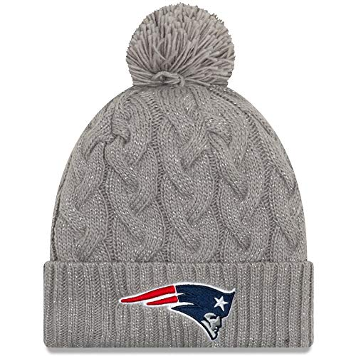 Amazon.com   All Sports New England Patriots New Era Women s Swift Cable  Cuffed Knit Hat with Pom - Gray   Sports   Outdoors baab323b9c