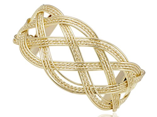 Alilang Golden Tone Metal Braided Open Cuff Contemporary Bracelet (Roman Girl Costume)