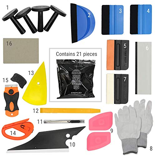 Syneticusa SUV/Truck/Car Window Tint Wrapping Vinyl Application Tools Squeegee Scraper Applicator Kits (21pcs kit) ()