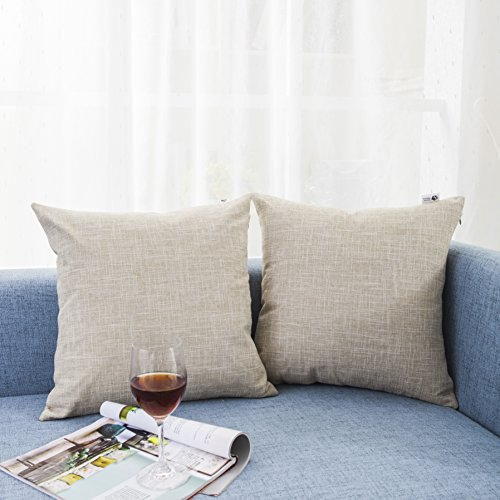 Kevin Textile Decorative Lined Linen Pillow Cover Euro Throw Pillowcase Cushion Cover Pillow Sham for Sofa, Hidden Zipper, 18×18(2 Pieces, Natural L…