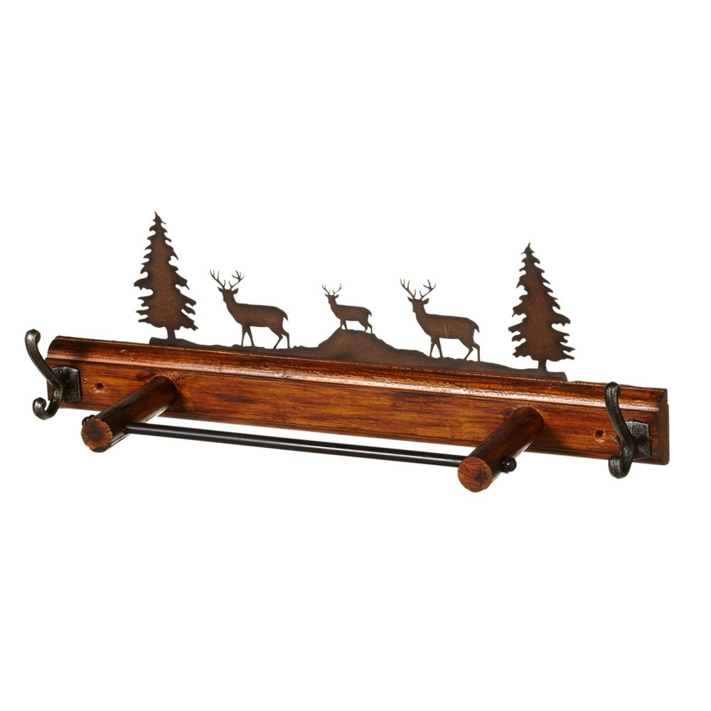 50%OFF Midwest CBK Lodge Scene Deer Forest Towel Bar and/or Wall Decor Wood & Metal