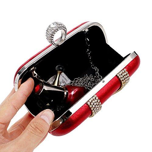 De à Femmes Red Soirée Diamants Soirée Mariage Main Simple Chaîne Sac Sacs Sac Main Embrayage À KYS Doigt Cristal Anneau De Mixte Épaule fqRZnCw