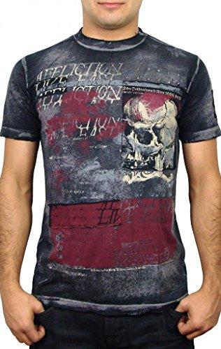 Char Brush - Affliction - Mens Living Toxic T-Shirt in Blk/Char Brush Wash, Size: XX-Large, Color: Blk/Char Brush Wash