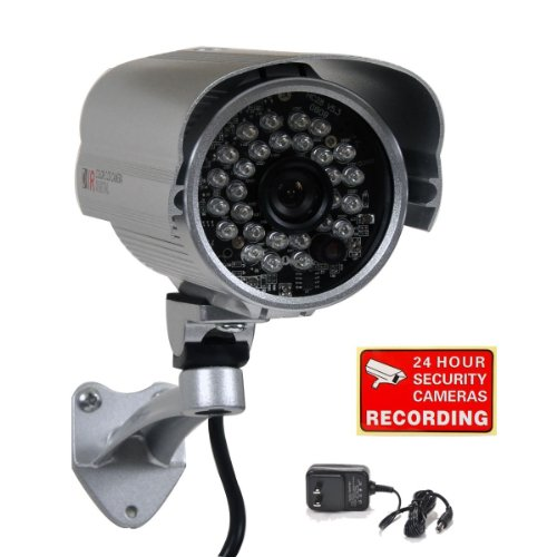 Videosecu Bullet Security Camera 700Tvl Built In 1 3  Sony Effio Ccd Weatherproof Day Night 3 6Mm Wide View Angle Lens Ir For Cctv Dvr Home Surveillance System With Bonus Power Supply Ir45he Bco