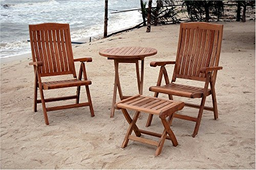 - Anderson Teak Katana 5-Position Recliner Folding Armchair, Bistro Folding Table & Foot Stool Set, Linen Canvas
