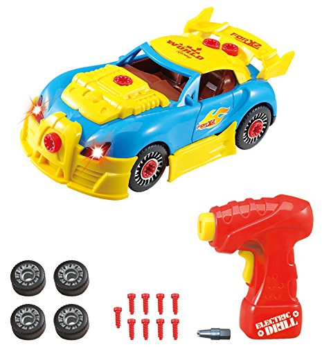 Take Apart Toy Racing Car Kit For Kids TG642 - Build Your Own Car Kit Construction Set (Version 2!!) - 30 Take-A-Part Pieces With Realistic Sounds & Lights By ThinkGizmos (Trademark Protected)