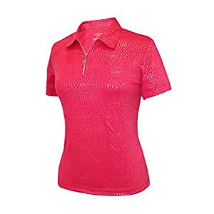 Monterey Club Ladies Dry Swing Firework Foil Solid Shirt #2441(Berry,Small)