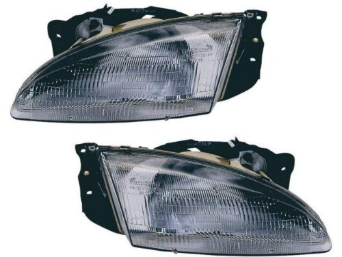 1996-1998 Hyundai Elantra Headlights Headlamps Head Lights Lamps Pair Set Left Driver AND Right Passenger Side (1996 96 1997 97 1998 (Pair Hyundai Elantra Headlight)