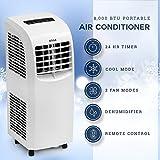 DELLA 8,000 BTU Portable Air Conditioner | Cooling Fan | Dehumidifier | A/C Remote Control | Window Vent Kit | White