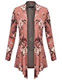 BILY Women's Open Front Drape Hem Light Weight Cardigan Floral Printed 170403 Mauve Large