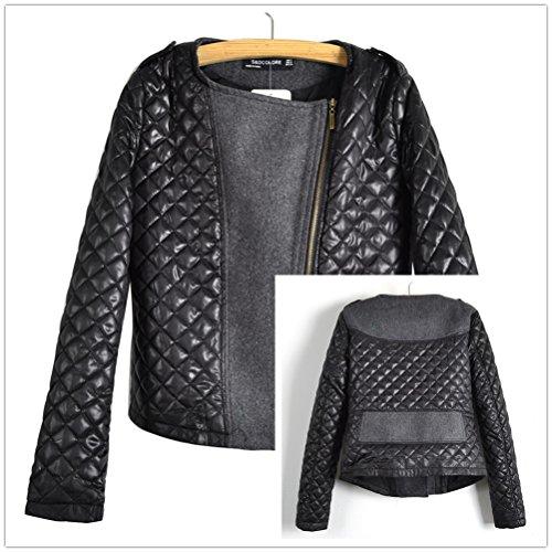 Gaorui Fashion Femmes Laine Cuir Pour Slim En Doudoune Quilting Celebrity Coutures Veste HHr5Oq
