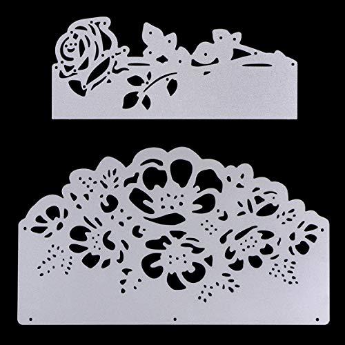 2 Pcs Metal Cutting Dies Stencils, KISSBUTY Criss-Cross Metal Embossing Scrapbooking Dies Cuts Handmade Stencils Template Embossing for Card Scrapbooking Craft Paper Decor (Flower Rose Cutting Dies)