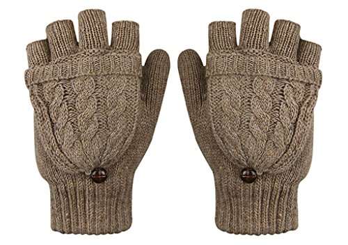 Winter Thermal Wool Magic Cable Gloves Flip Top Gloves Winter Knit Convertible Gloves With Mitten Cover Texting Gloves Fingerless Flip Gloves Mittens For Women Solid Color