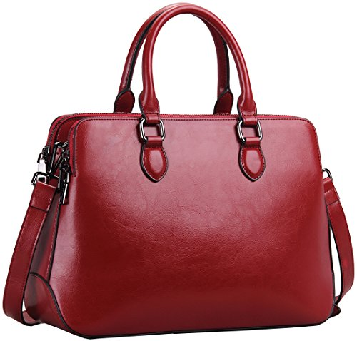 (Heshe Leather Womens Handbags Totes Top Handle Shoulder Bag Satchel Ladies Purses (Wine-r))