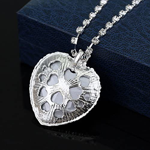 Dream-Store Classic Titanic Heroine Rose Butterfly Hairpin and Heart of Ocean Crystal Costume Necklace Pendant