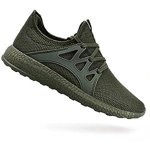 QANSI Men's Sneakers Ultra Lightweight Breathable Mesh Street Sport Walking Shoes Green 11 D(M) US
