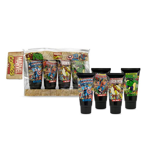 Marvel Comics Travel Geschenk-Set für Herren Incredible Hulk Moisturiser, Thor, Dusche Gel, Iron Man Face Wash & Captain America Shave Gel