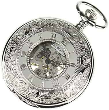 PACIFISTOR Steampunk Silver Hands Scale Mechanical Skeleton Pocket Watch Hand Wind