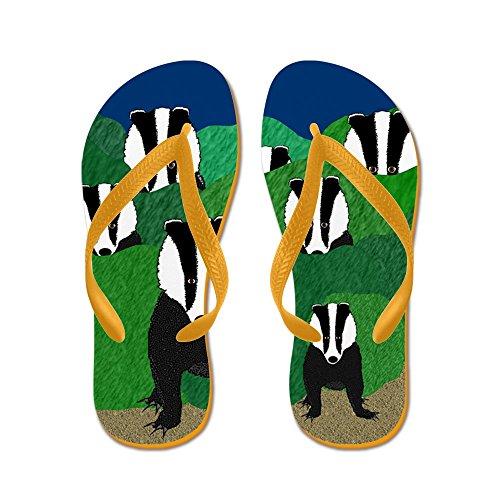CafePress Badger - Flip Flops, Funny Thong Sandals, Beach Sandals Orange
