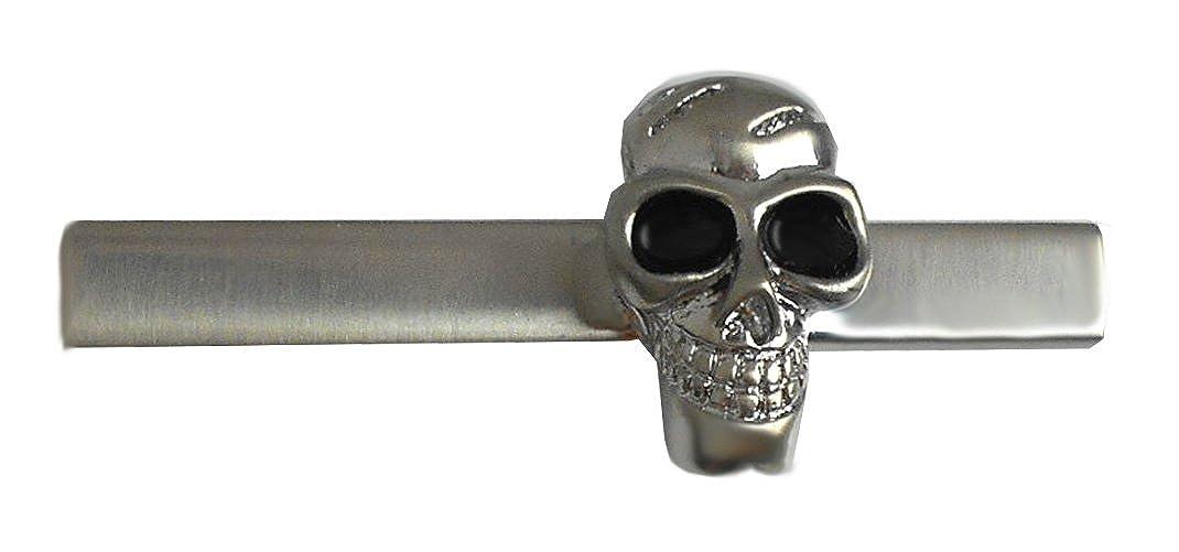 Totenkopf Krawattenhalter kurz 5 cm silbern schwarz gelackt NM0857