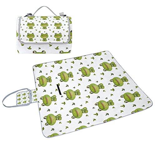 COOSUN grenouilles Motif couverture de pique-nique Sac pratique Tapis résistant aux moisissures et étanche Tapis de camping pour les pique-niques, les plages, randonnée, Voyage, Rving et sorties
