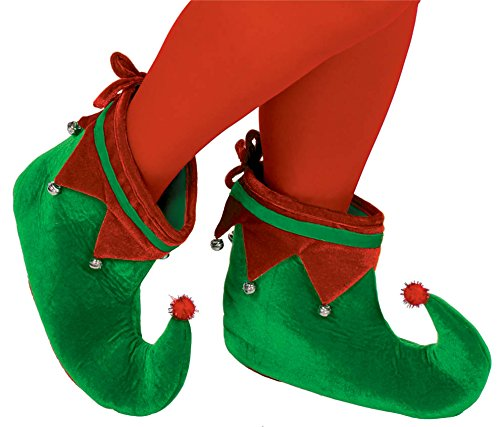 Uk Elf Costume (Fun-Filled Christmas and Holiday Party Elf Shoes - Adult , Green/Red, Polyester Velour , Pack of)