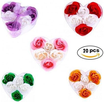 Lote 20 Estuches Corazón con 6 Flores de Jabón decorados con Lazo ...