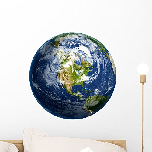 Earth Decals - Wallmonkeys Planet Earth Wall Decal Peel and Stick Graphic (18 in H x 18 in W) WM362770
