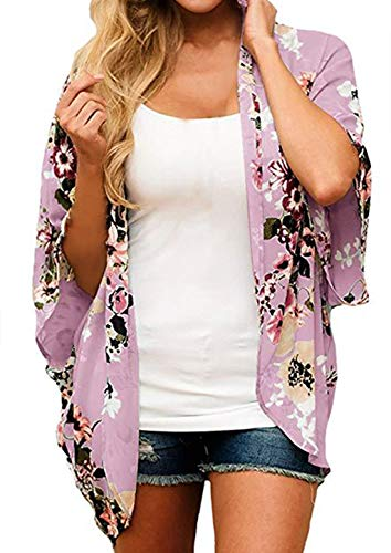 Finoceans Ladies Sheer Chiffon Cardigans Summer Batwing Kimonos Purple Floral L