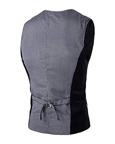 Monopetto A Business Schwarz Con Collo Completo Casual Fit Giacca Vestibilità V Vintage Slim Da Gilet Uomo TP1wxqBqA
