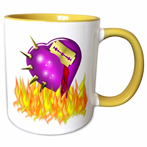 3dRose Anne Marie Baugh - Halloween - Scary Halloween Burning Heart With Razor Blade - 15oz Two-Tone Yellow Mug -