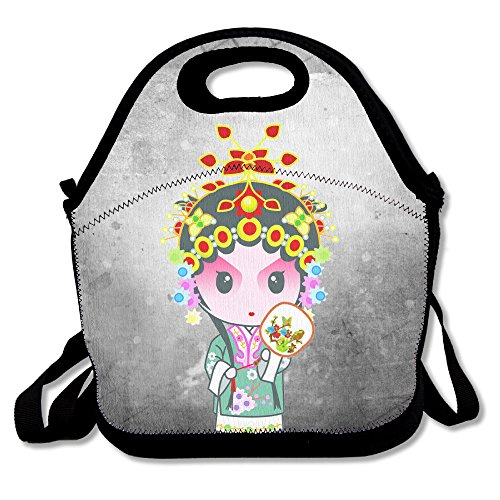Farmer Girl Costume Makeup (Bakeiy Chinese Peking Opera Lunch Tote Bag Lunch Box Neoprene Tote For Kids And Adults For Travel And Picnic School)
