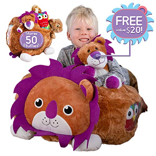 hugable 🦁 Lion Bean Bag Stuffed Animal Storage Extra Large Chair - XL Soft Animal Organizer | Holds up to 50 Animals | Unique Birthday Gifts for Toddlers | Learning Toys