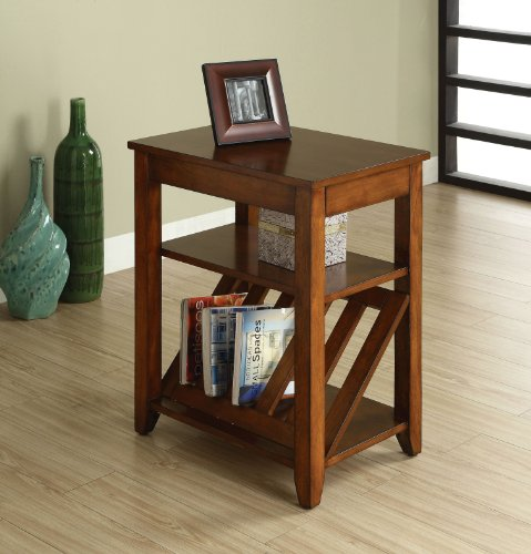 Fittings of America Rust Side Table with Magazine Rack, Antique Oak