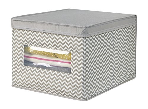 - mDesign Soft Fabric Stackable Closet Storage Organizer Holder Box with Clear Window, Attached Hinged Lid - Bedroom, Hallway, Entryway, Closet, Bathroom - Chevron Zig-Zag Print, Large - Taupe/Natural