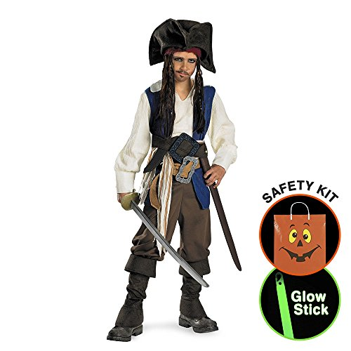 Captain Jack Sparrow Deluxe Child Costum Halloween Trick or Treat Safety Kit Medium (Captain Jack Sparrow Child Deluxe Costume)