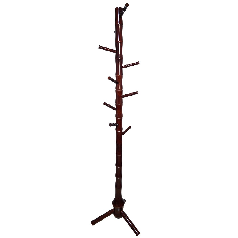 Yi Hai Solid Wood 9 Hook Coat Stand Entryway Coat Tree Rack,Cherry