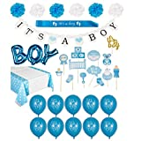 "Baby Shower Decorations for Boy Kit- Includes Wall Decor, Blue ""Its A Boy"" Banner, Balloons, Sash, Baby Shower Photo Booth Props, Cake Topper, Pom Poms, and Table Cloth!"