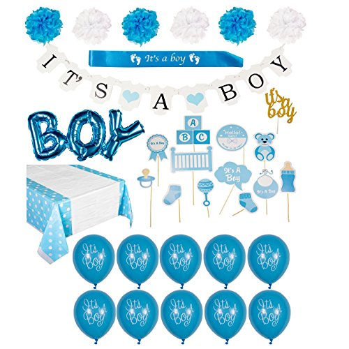 "Baby Shower Decorations for Boy Kit- Includes Wall Decor, Blue ""Its A Boy"" Banner, Balloons, Sash, Baby Shower Photo Booth Props, Cake Topper, Pom Poms, and Table Cloth! ()"