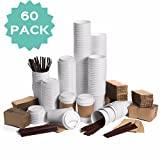 reusable coffee stirrers - JUMBO Set of 60 Paper Coffee Hot Cups with Travel Lids, Sleeves, and Stirrers Disposable Coffee Cups - 12OZ WHITE Hot Cups To Go Travel Mug Office/Party Pack Tea & Chocolate …