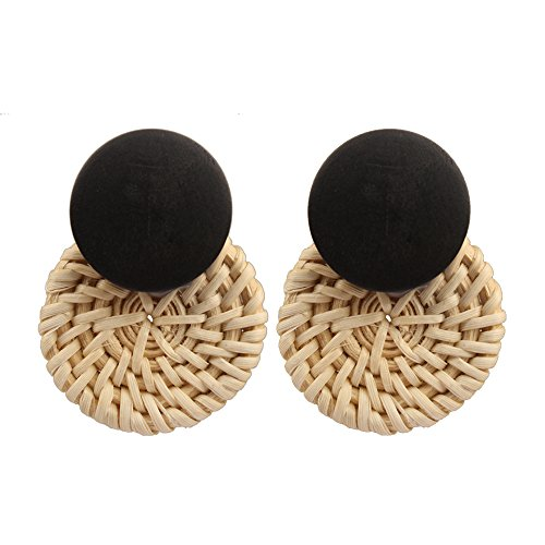 - MIZUKAGAMI Drop Earrings Hoop Earrings Fashion and All-match Round Ornament Hand Rattan Weaving Bohemian Style for Women Girls (Black)