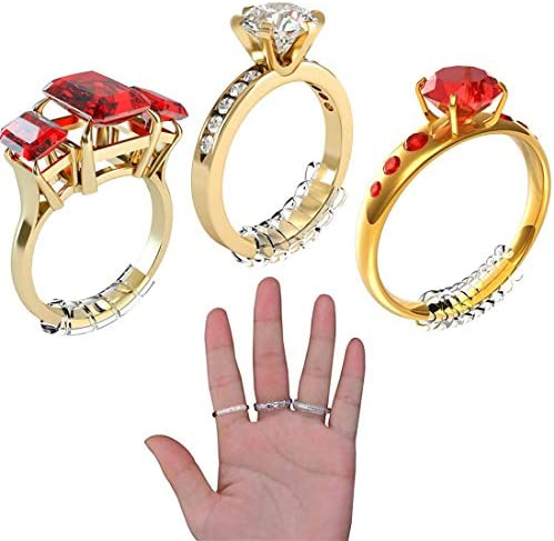 Ring Size Adjuster for Loose Rings, Jewelry Tightener Resizer Transparent Silicone Guard Snuggies 5 Sizes Fit Most Rings