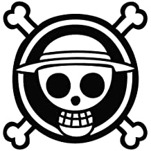 One Piece Anime Logo - Cartoon Decal Vinyl Removable Decorative Sticker for Wall, Car, Ipad, Macbook, Laptop, Bike, Helmet, Small Appliances, Music Instruments, Motorcycle, Suitcase by Leon Online Box