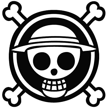 One piece luffy flag black sticker decal pirate cartoon anime black sticker decal